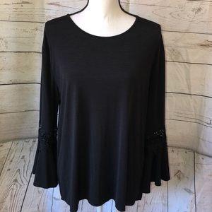 Southern Lady black ruffle & lace sleeve blouse